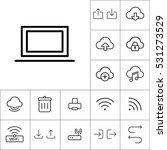 thin line laptop icon on white...