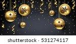 golden christmas balls and... | Shutterstock .eps vector #531274117
