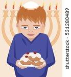 jewish kid with sufganiyot ... | Shutterstock .eps vector #531280489