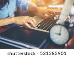 hand control on a laptop touch | Shutterstock . vector #531282901