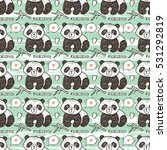 cute baby panda with bamboo...   Shutterstock .eps vector #531292819