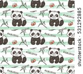 cute baby panda with bamboo... | Shutterstock .eps vector #531292885