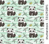 cute baby panda with bamboo... | Shutterstock .eps vector #531292891