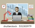business man with office things.... | Shutterstock .eps vector #531303979