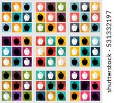 vector icons with apples on... | Shutterstock .eps vector #531332197