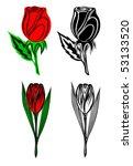 set from four flowers | Shutterstock .eps vector #53133520