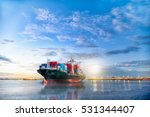 Logistics and transportation of International Container Cargo ship in the ocean at twilight sky, Freight Transportation, Shipping
