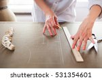 close up. hands woman tailor... | Shutterstock . vector #531354601