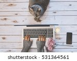 Stock photo girl with a cat working at home 531364561