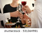 people clinking glasses at... | Shutterstock . vector #531364981