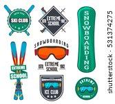 vintage snowboarding or winter... | Shutterstock .eps vector #531374275