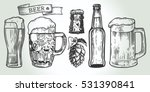 Stock vector beer glass mug ribbon bottle and hop vintage vector engraving illustration for web poster 531390841