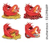 Set Of Red Dragon Guarding His...