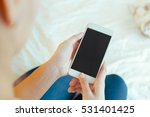 woman with modern mobile phone... | Shutterstock . vector #531401425