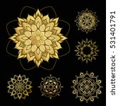golden mandala set. round...   Shutterstock .eps vector #531401791
