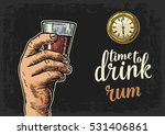 male hand holding glass rum and ... | Shutterstock .eps vector #531406861