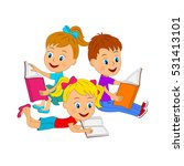 kids boy and girls  reading a... | Shutterstock .eps vector #531413101