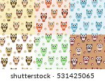 kids seamless pattern with owls.... | Shutterstock .eps vector #531425065