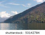 mountains near lake with houses | Shutterstock . vector #53142784