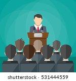 orator speaking from tribune.... | Shutterstock . vector #531444559