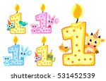 set happy first birthday candle ... | Shutterstock .eps vector #531452539