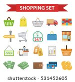 shopping icon set  flat style.... | Shutterstock .eps vector #531452605