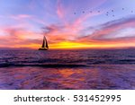 Ocean Sunset Sailboat...
