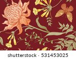 exotic flowers and butterflies. ... | Shutterstock .eps vector #531453025