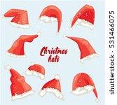 christmas hat set. flat vector... | Shutterstock .eps vector #531466075