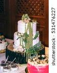 original wedding cake decorated ...   Shutterstock . vector #531476227