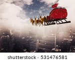 3d reindeer sleigh riding above ...