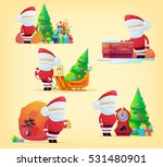 set of santa claus with bag for ... | Shutterstock .eps vector #531480901