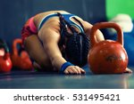 young fitness woman training by ... | Shutterstock . vector #531495421