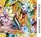 floral watercolor seamless... | Shutterstock . vector #531498331