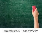 hand holding brush erase on... | Shutterstock . vector #531499999