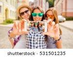 three happy best girlfriends in ... | Shutterstock . vector #531501235