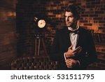 handsome sexy man in black suit ... | Shutterstock . vector #531511795