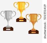gold  silver  bronze trophy cup.... | Shutterstock .eps vector #531551419