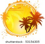 tropical background with palm... | Shutterstock .eps vector #53156305