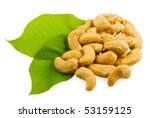 cashew and green leaves on... | Shutterstock . vector #53159125