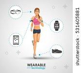 woman sport jogging wearable... | Shutterstock .eps vector #531605881