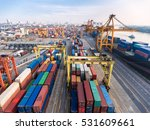 container ship in export and... | Shutterstock . vector #531609661