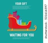 santa sleigh. flat icon. gift... | Shutterstock .eps vector #531616597