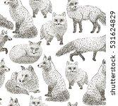 fox seamless pattern sketch.... | Shutterstock .eps vector #531624829