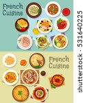 french cuisine meat and dessert ... | Shutterstock .eps vector #531640225