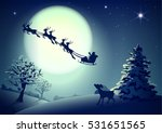 Santa Claus In Sleigh And...