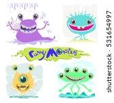 funny monsters set. vector... | Shutterstock .eps vector #531654997