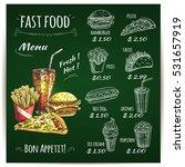 fast food menu list on... | Shutterstock .eps vector #531657919