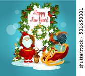 New Year Greeting Card Of Sant...