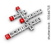 customer loyalty cubes crossword puzzle - stock photo